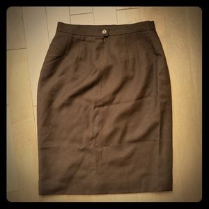 Vintage 100% wool brown pencil skirt